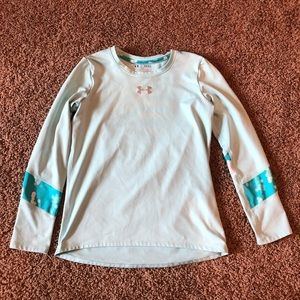 Girls Under Amour light blue/teal Long sleeve top